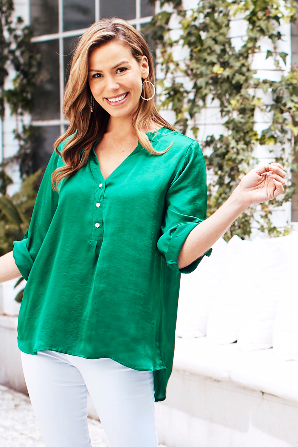 Tuscany Mid Sleeve Top Emerald
