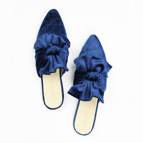 Francisca Velvet Mules in Blue