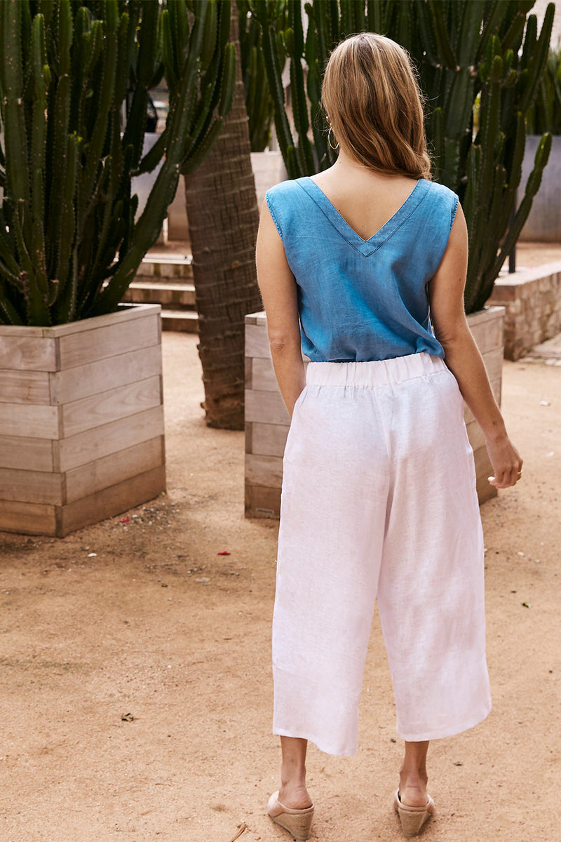 Wide Leg Pure Linen Pants in White-Pre-Order