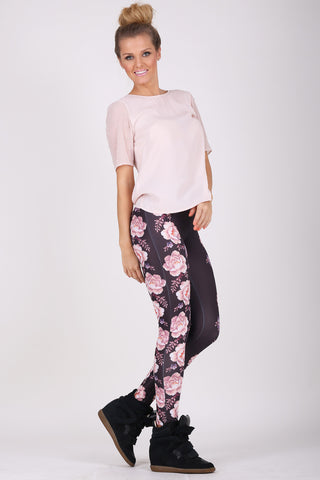 Floral Embroidery legging