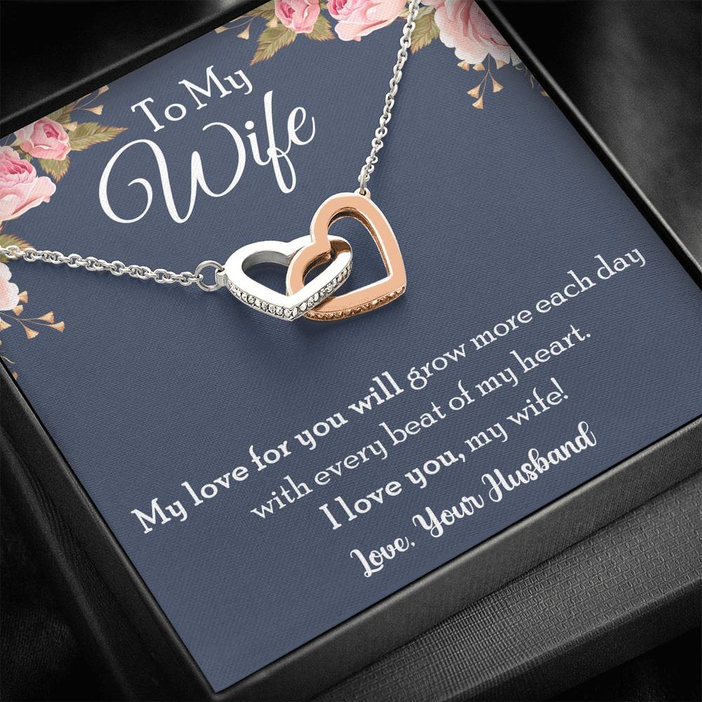 To My Wife My Love For You Will Grow More Love knot Necklace Two hearts Necklace