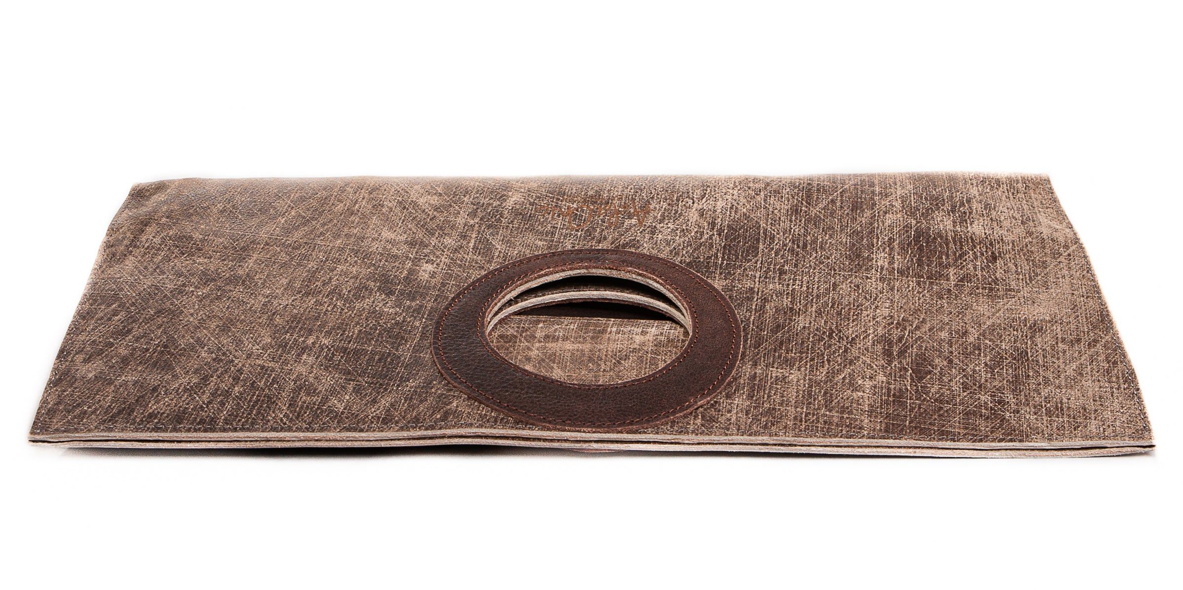 Gifti Fold Over Leather Clutch/Handbag with Top Handle (Grey & Chocolate)