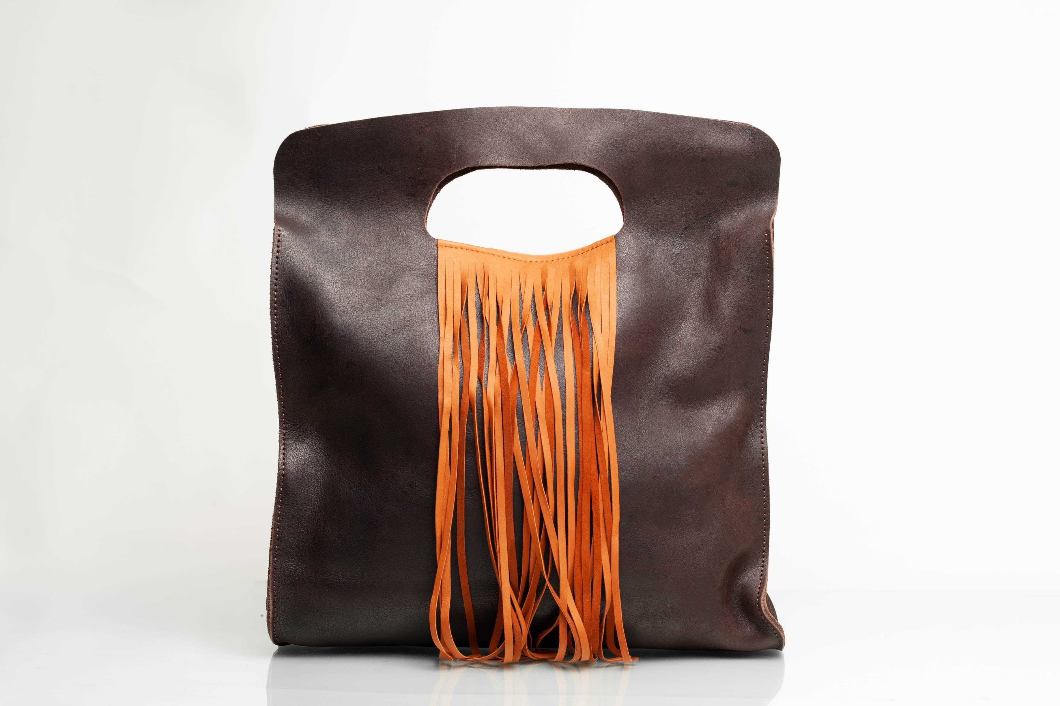 Ethiopian Leather Handbag with Fringe