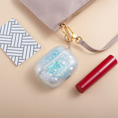 Liquid Glitter Quicksand Case w/ Keychain Compatible With AirPods Pro, Blue