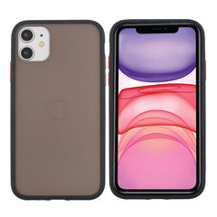 Insten Translucent Matte Case For iPhone 11 (6.1 inch), Hybrid Hard Back Soft Edges TPU Full Body Cover, Black w/ Red Button