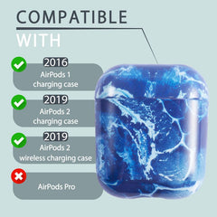 IMD Marble Print Design Pattern Glossy Soft TPU Case Compatible With AirPods 1 / 2, Sea Blue