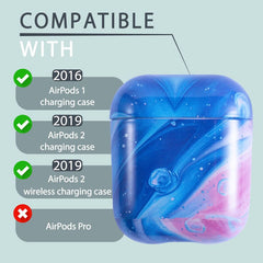 IMD Marble Print Design Pattern Glossy Soft TPU Case Compatible With AirPods 1 / 2, Cosmic Blue Pink