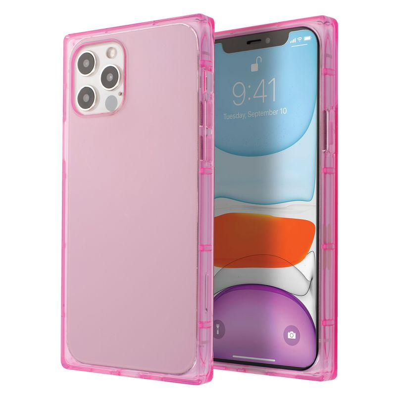 "Square TPU Case Compatible with iPhone 12 (6.1"") /12 Pro (6.1""), Clear Pink"