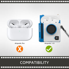 3D Cartoon Silicone Case Compatible With AirPods 1  2, White Camera