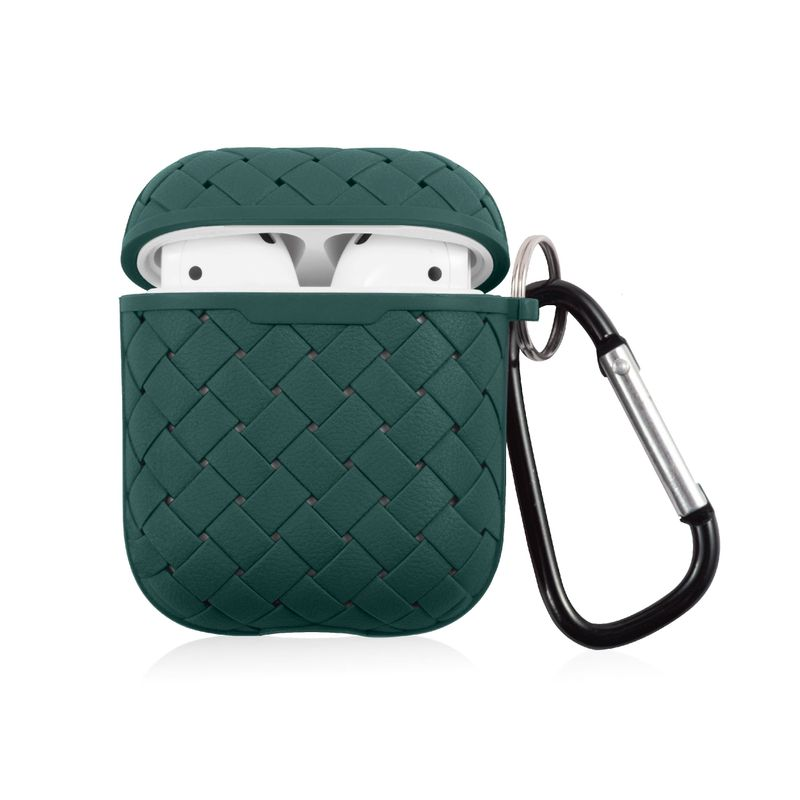 TPU Weave Pattern Skin Case with Keychain Compatible With AirPods 1  2, Green