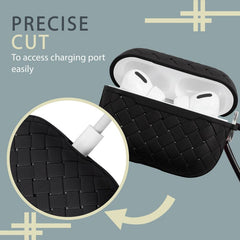 Insten Weave Shape Case For AirPods Pro, Soft TPU Skin Cover with Carabiner, Black