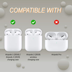 Ultrathin Frosted TPU Shell Cover Case with Keychain Compatible With AirPods 1 / 2 , Matte White