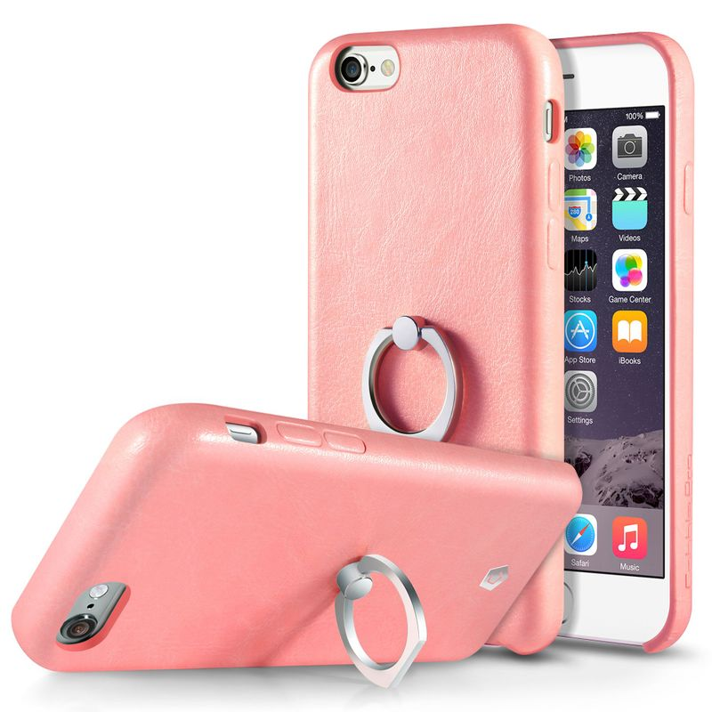 Leather Textured Back Cover with Ring Stand Compatible with iPhone 6 /6S, Pink