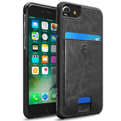 Cobble Pro Black Rear Leather Wallet Card Slot Shell Case (w/ 4-Corners Raised Lip Protection) For Apple iPhone SE 2020 SE2 / 8 / 7 / 6 / 6s