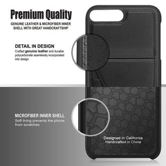 Genuine Leather Back Case with Stand Feature and Card Slot Compatible With iPhone 7 Plus, Black