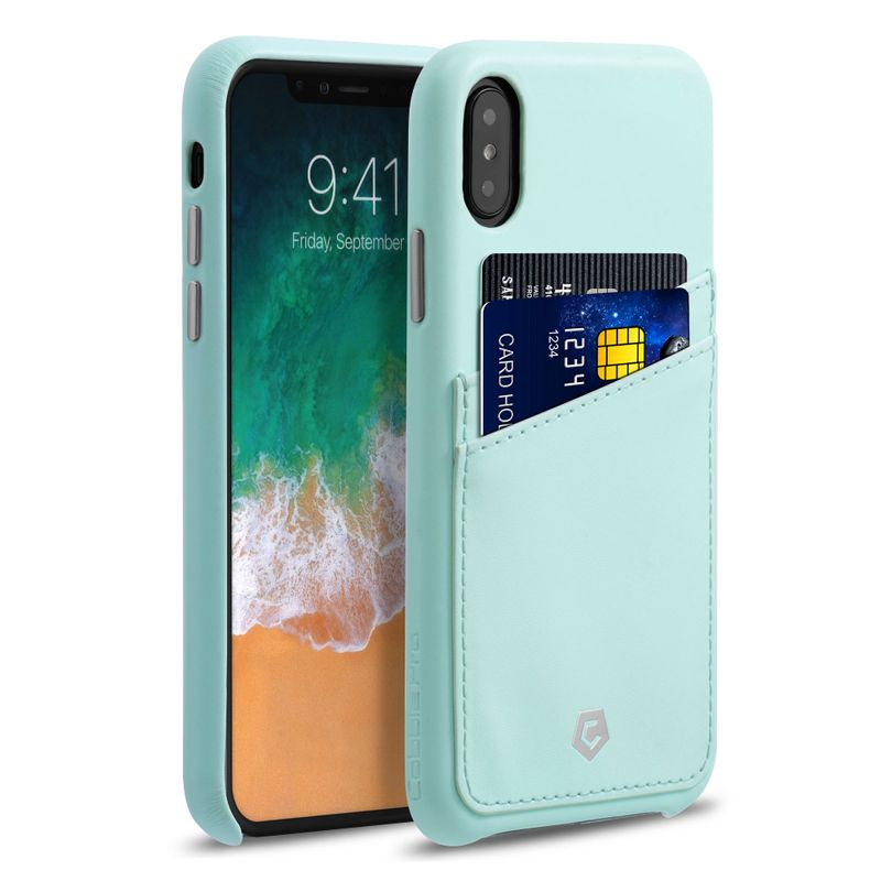 Cobble Pro Premium Credit Card Slot Holder PU Leather Snap-on Case Cover for Apple iPhone XS / iPhone X - Mint Green