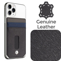 Cobble Pro Stick-On Leather Card Holder, Blue/Black with Central Opening