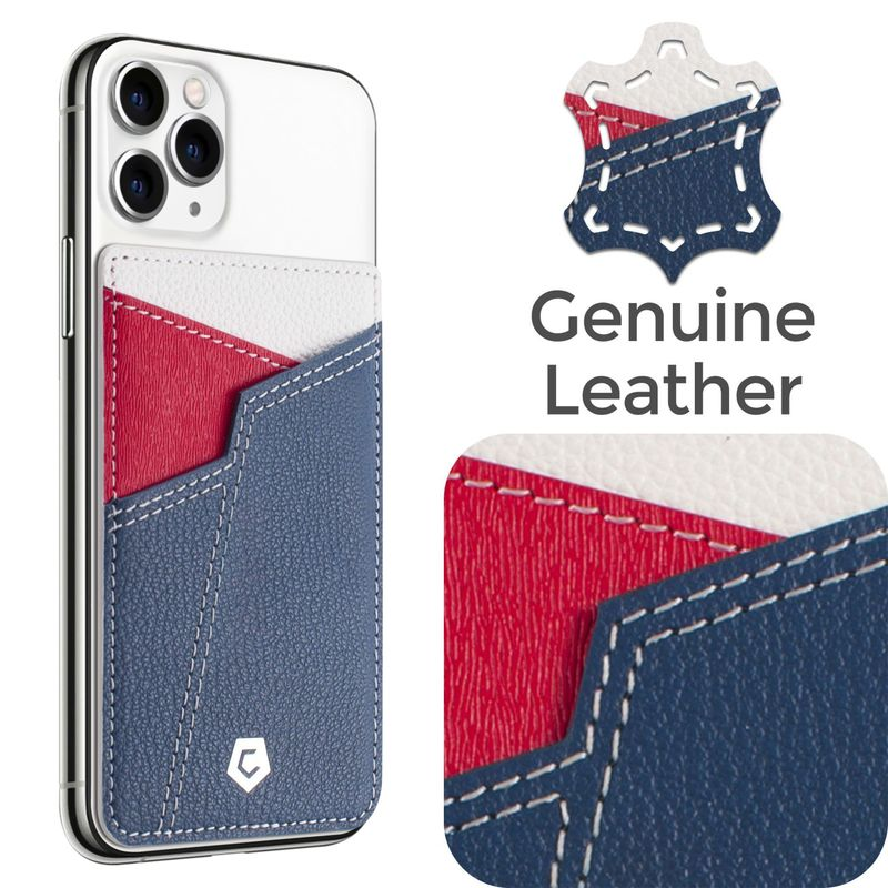 Cobble Pro Stick-On Leather Card Holder, Blue, Red & White