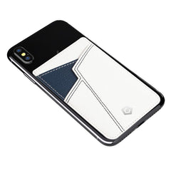 Cobble Pro Stick-On Leather Card Holder, White & Blue