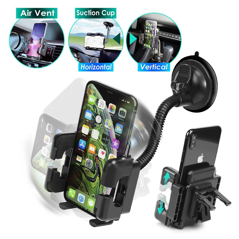 Insten Car Windshield Cell Phone Holder Car Mount For iPhone 11 12 Mini Pro Max XS 8 Plus SE Samsung Galaxy S10 S9 S8 LG G7 G6 G5 Stylo GPS Bracket