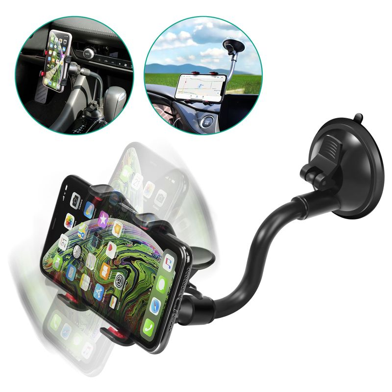 Insten Cell Phone Car Mount Holder for Dashboard Windshield For Smartphone iPhone 11 12 Pro Max Mini XS XR X 8 Plus iPod Samsung S10 S9 S8 S7 Note 10