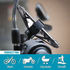 Universal Bicycle/Motorcycle Phone Holder with Secure Grip, Black