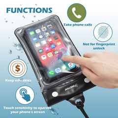 "Airbag Floating Waterproof Bag Case with Lanyard and Armband for smartphones smaller than 3.5"" x 6.8"", Black"