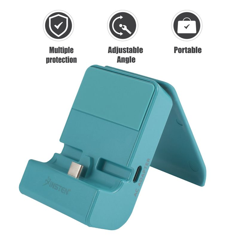 Insten for Nintendo Switch & Switch Lite Docking Station Adjustable Charging Stand with USB C Port, Blue