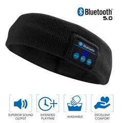 Bluetooth Elastic Sport Headphones Headband, Black