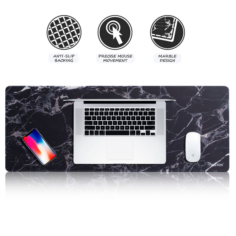 "Insten Gaming Mouse Pad Extended Large Mouse Pad for Laptop Computer Desktop Mouse Keyboard Marble Design Long Mat Size: 31.5"" x 12"" Black"
