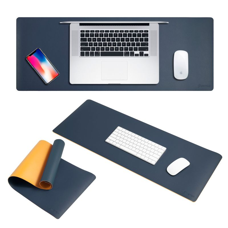 Large Double-Sided Color Leather Mouse Pad, Navy/Yellow