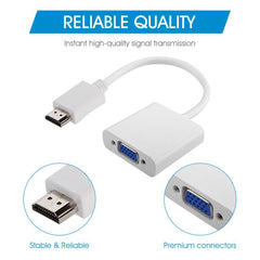 INSTEN 1080P HDMI Male to VGA Female Adapter, White