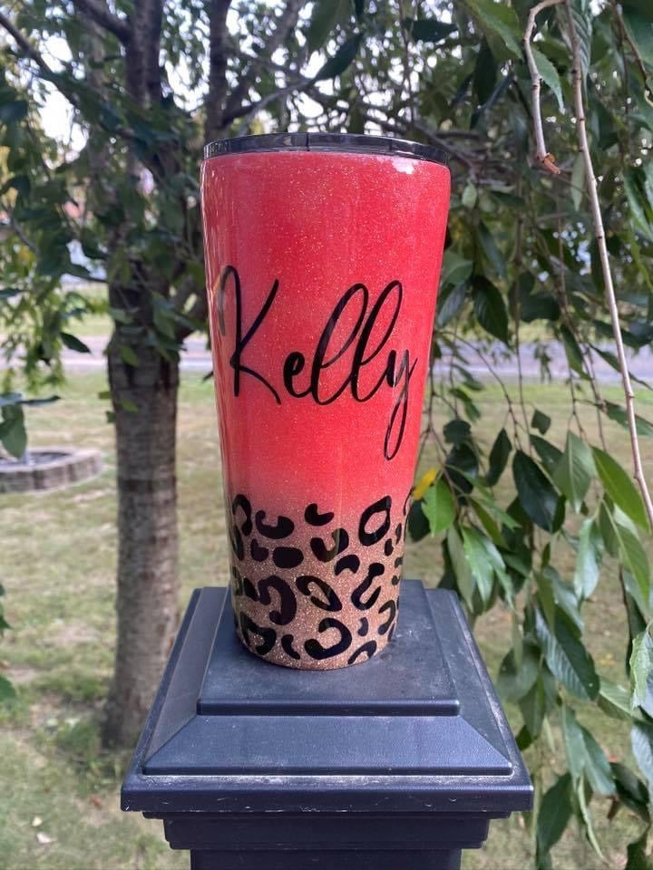 Coral and Leopard Print Personalized