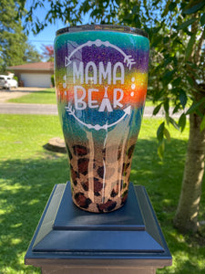 Mama bear striped cheetah tumbler