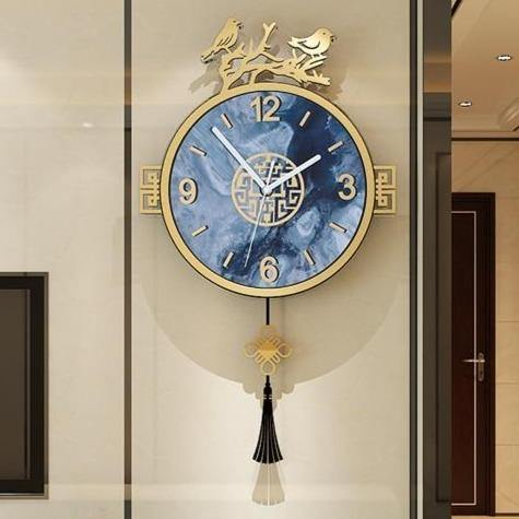 Gorgeous Vintage Blue Birds Pendulum Clock