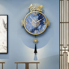 Load image into Gallery viewer, Vintage Blue Birds Pendulum Clock on Blue Wall