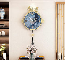 Load image into Gallery viewer, White Wall Vintage Blue Birds Pendulum Clock