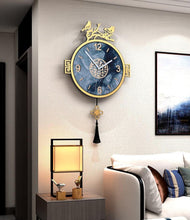 Load image into Gallery viewer, Vintage Blue Birds Pendulum Clock on Wall