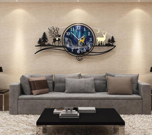 Reindeer by Evening Large Wall Clock in Living Room