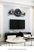 Load image into Gallery viewer, Reindeer by Evening Large Wall Clock above TV