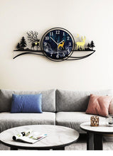 Load image into Gallery viewer, Reindeer by Evening Large Wall Clock in Lounge Room