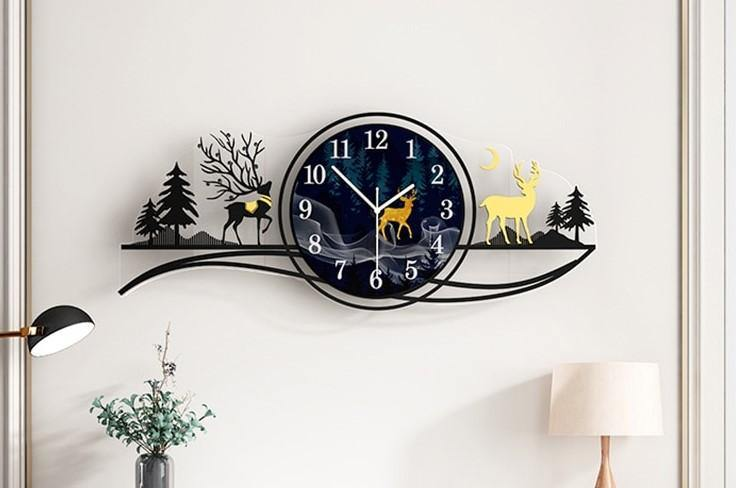 Wilderness Shadows Wall Clock Clock Sovereign Dark-Grey 82X34CM(Dial29CM)