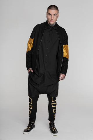 Image of No Attack Black & Gold Falcon Bomber Jacket