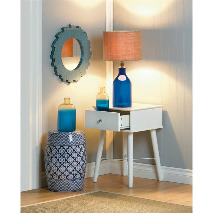 Blue Round Sunburst  Mirror