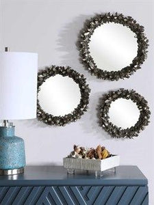 Antique Silver Leaf Round Mirror Set (Set Of 3)