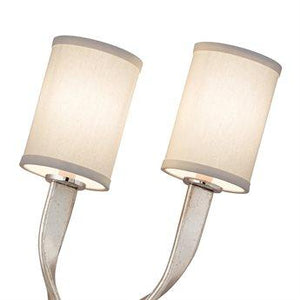 Modern Silver Leaf / Stainless Two-Light Wall Sconce (Right)
