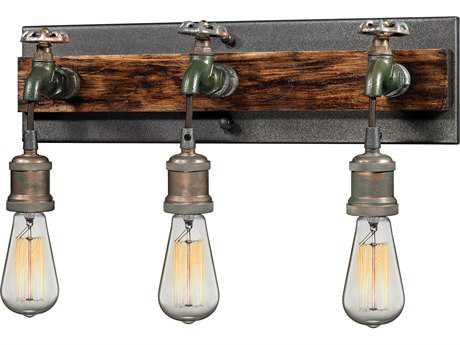Multi-Tone Weathered Three-Light Wall Sconce