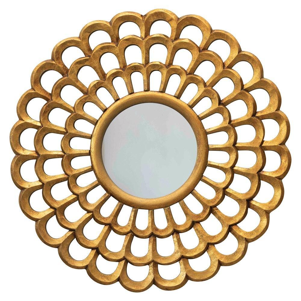 Round Scalloped Hand-Carved Mirror With Gold Finish