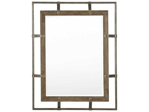 Rustic Patina Peppercorn / Burnished Silver Rectangular  Mirror