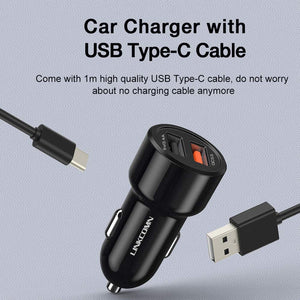 Linkcomn Fast Car Charger 30w with 1m Type-C Cable